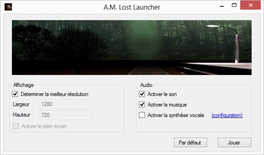 Lanceur du jeu A.M. Lost