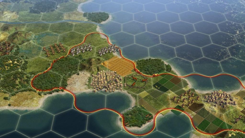 Le jeu Civilization V utilise des grilles d'hexagones.