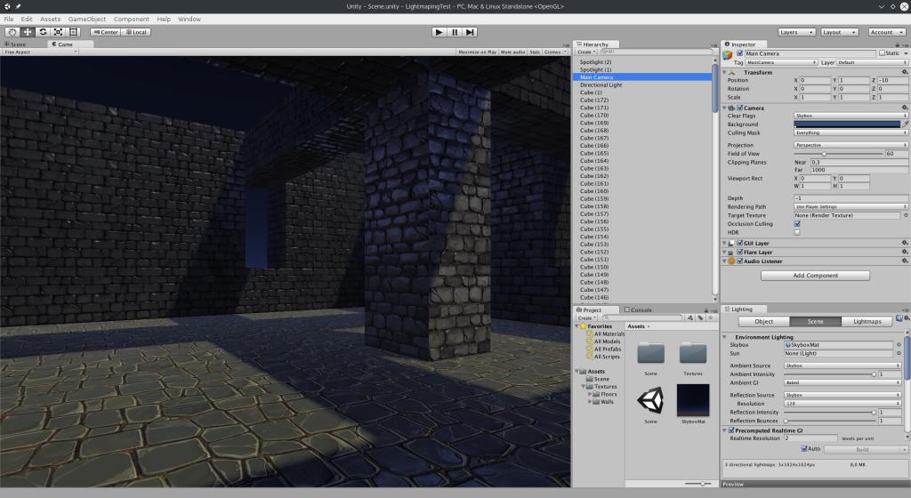 Unity sous Linux avec une scène standard en 3D