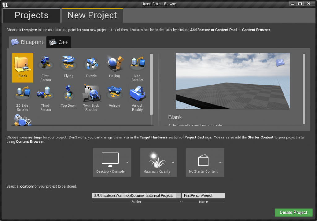 Création du projet Blueprint vide