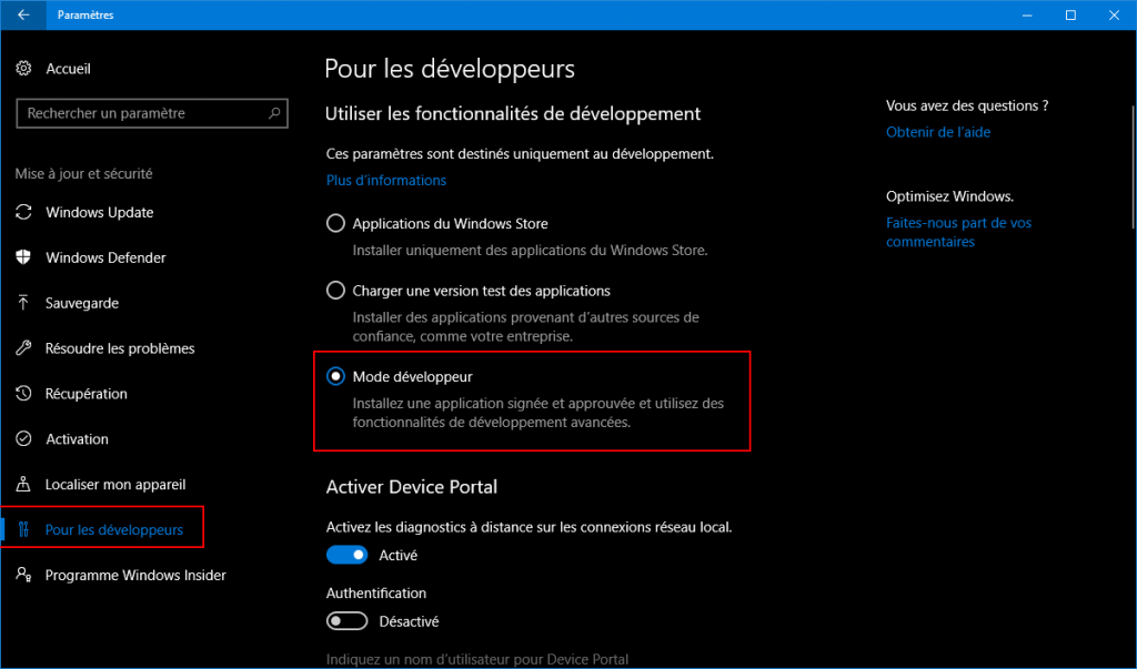 Activation du mode développeur sous Windows 10