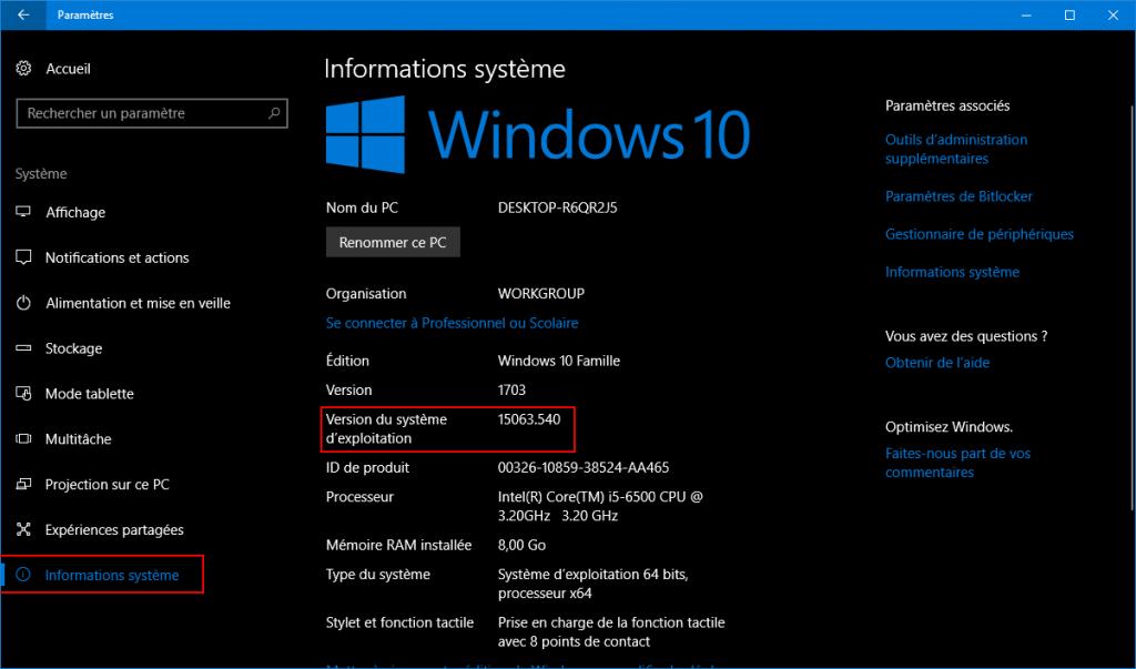 Les paramètres de Windows 10