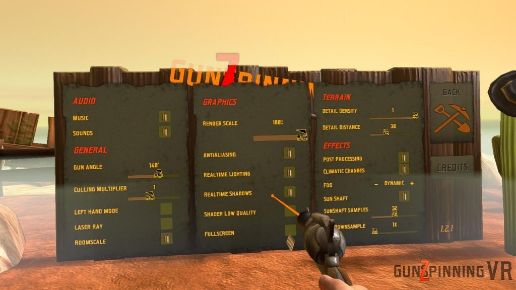 Options graphiques dans GunSpinning VR