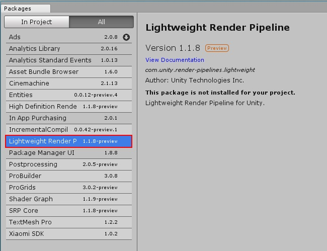 Lightweight Render Pipeline Vs 3d