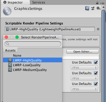 Activation du Scriptable Render Pipeline Asset
