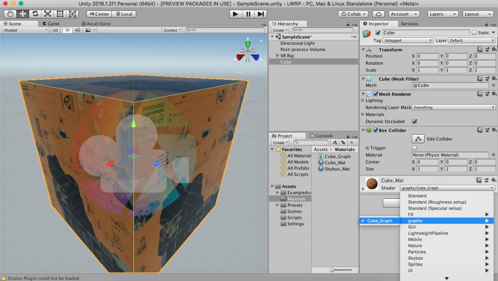 Utilisation du shader crée avec ShaderGraph sur le material du cube